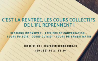 Rentrée 2018 – Les cours collectifs de français reprennent