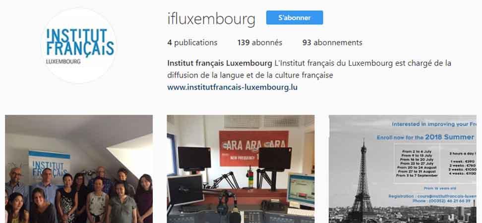 Lancement de la page Instagram de l'Institut français du Luxembourg