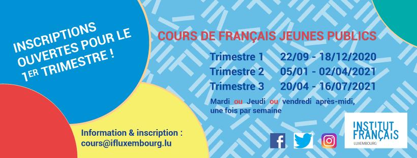 Cours de français pour jeunes publics – inscriptions pour le 1er trimestre !
