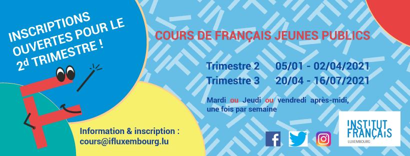 Cours de français pour jeunes publics – inscriptions pour le 2ème trimestre !