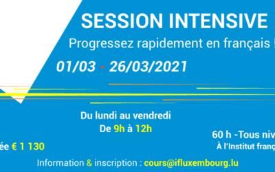 01/03 – 26/03/2021 – Cours de français collectifs intensifs